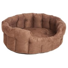 Premium Memory Foam Oval Drop Front Softee Bed Faux Suede Brown Size 6 97x74x25cm