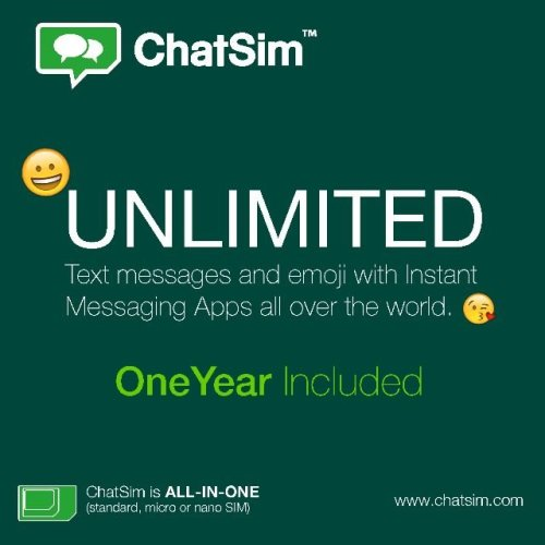 ChatSim - Unlimited text messages & emojis worldwide - Lasts up to one year