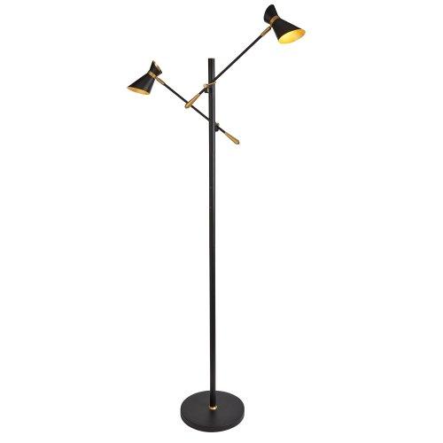 2 Light LED Floor Lamp Matt Black Chrome & White