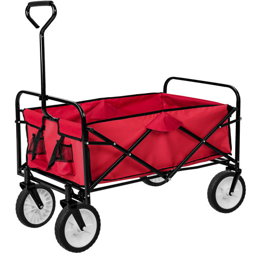 Foldable pull along trolley red