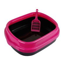 "High-quality Indoor Training Pet Potty Cat litter Basin(18.5""*1.5""*5""),Rose Red"