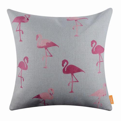 "18""x18"" Modern Pink Flamingo Burlap Pillow Cover Cushion Cover"
