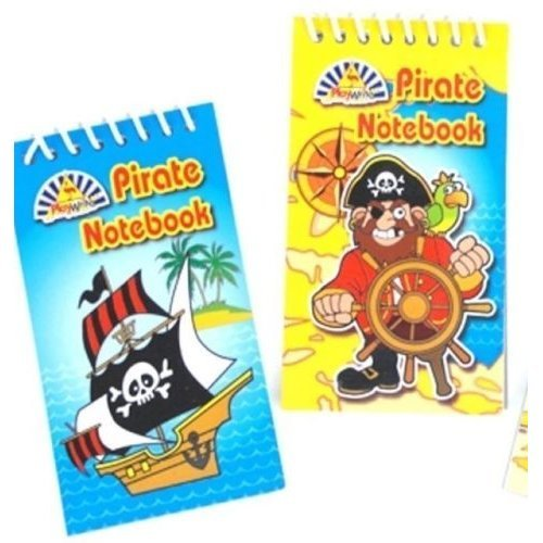 Pirate Spiral Notebook Jotter Party bag Captain Jack Pirate Wheel Treasure x4