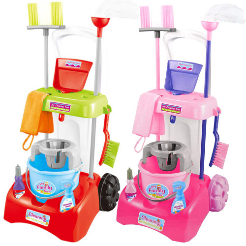 Kids Cleaning Trolley Cart with Mop, Brush & Cleaning Tools