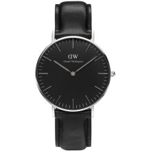 Daniel Wellington Sheffield DW00100145 Black Leather Watch Polished Mixed