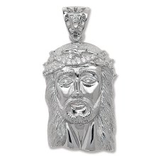 Mens Sterling Silver Cubic Zirconia Jesus Head Pendant On A Black Leather Cord Necklace