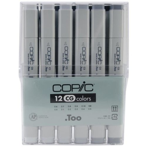 Copic Marker CCG12 Cool Gray Sketch Paint Marker - 12 Piece