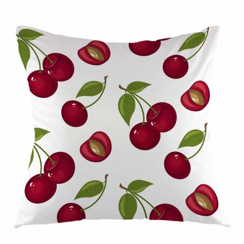 """Melyaxu Cherry Pillow Case Sweet Red Ripe Cherries Throw Pillow Cover Square Cushion Case for Sofa Couch Car Bedroom Living Room Decor 18"""" x 18"""" inch"""