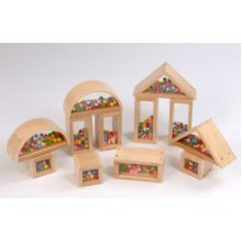 Childrens Wooden Pom Pom Building Blocks Set of 12 (A1498H)