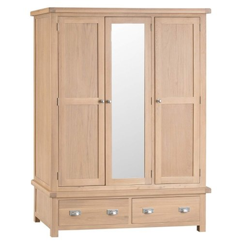 Langham Lime Washed Oak Furniture 3 Door Wardrobe with Mirror