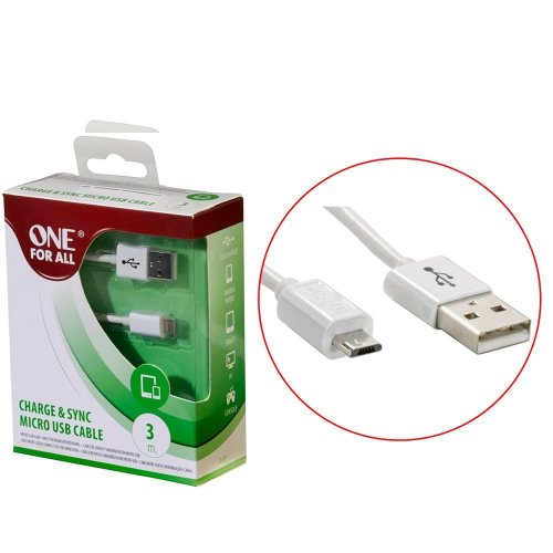 One For All CC3315 Charge & Sync Micro USB Cable 3M - White
