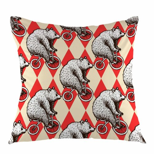 """Melyaxu Cartoon Funny Bear On Bicycle Throw Pillow Cover Square Cushion Case Home Decorative for Sofa Couch Car Bedroom Living Room 18"""" x 18"""" inch"""