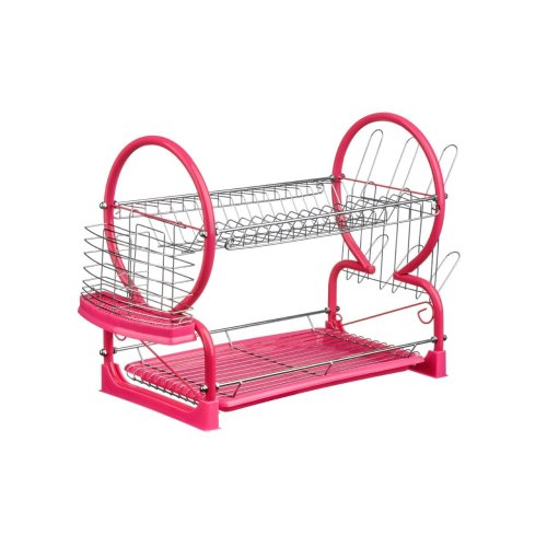 2 Tier Dish Drainer with Drip Tray - Hot Pink