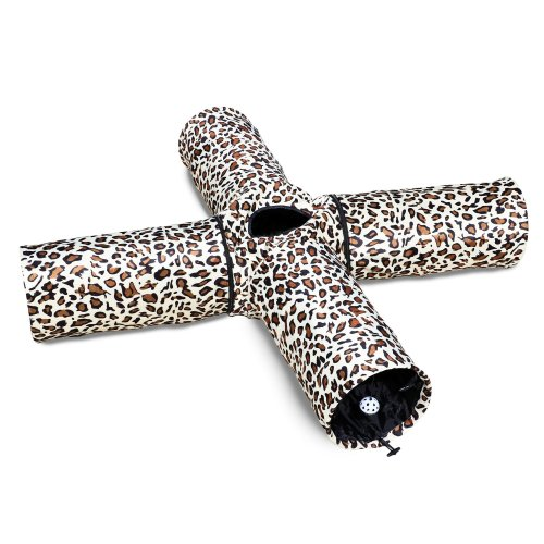 Cat Tunnel Toy 4 Way for Large Indoor Cats Leopard Print Crinkly (4, White)