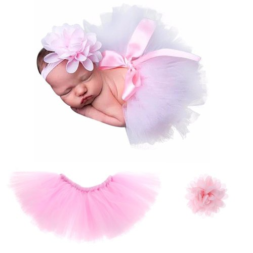 Pink Newborn Photography Props Costume Infant Baby Girls Cute Princess Skirt and Headband Outfits Gift Set (0-4 Month)