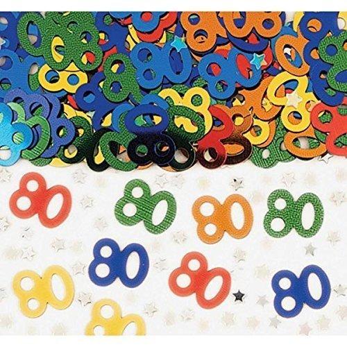 Number 80 Multi Colour Metallic Confetti 14g -