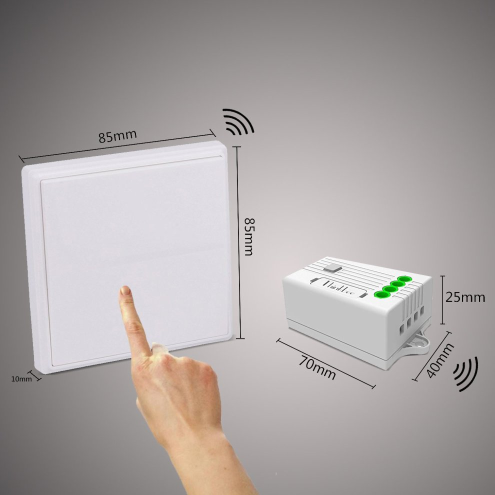 Thinkbee Wireless Light Switch Kit,No Battery No Wiring No WiFi  Required,Easy to Install On/Off,Self-powered Kinetic Remote Controlled  Light Switch