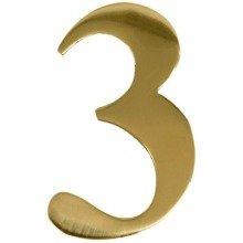Brass Door Number 3 Self Adhesive