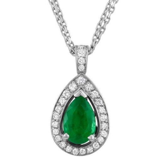 Emerald And Diamonds Pendant Necklace 14K Wg Prong Set 8.35 Carats