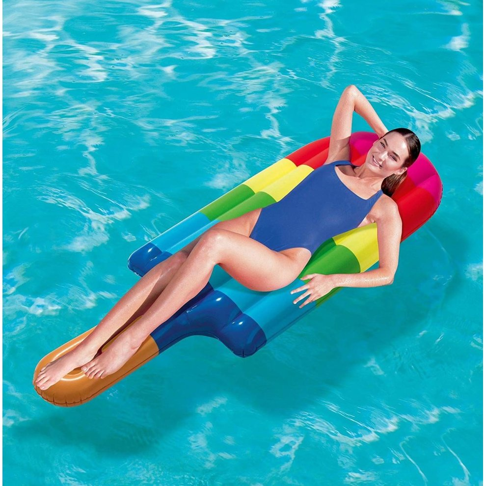 Inflatable 18 Pocket Sun Beach Pink Fashion Swimming Pool Lounger Lilo Air Bed