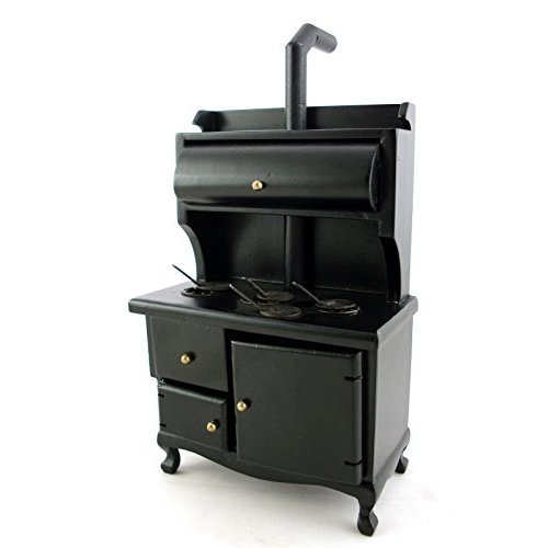 Dollhouse Miniature Black Wood Stove
