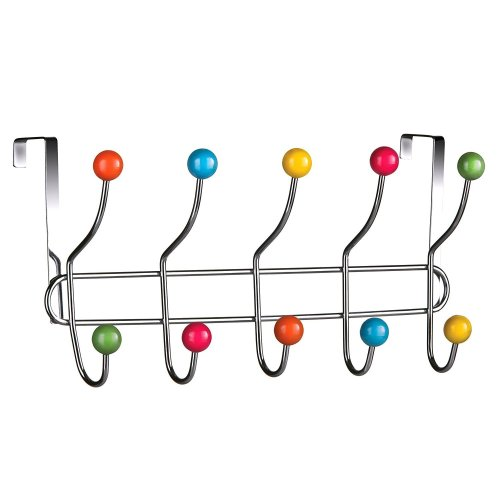 10 Multi-Coloured Hooks Over Door Hanger