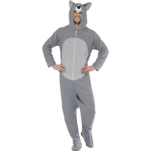 Smiffy's Adult Unisex Wolf Costume, All In One Jumpsuit, Size: M, Colour: Grey, -  wolf costume fancy dress outfit adult mens ladies animal halloween