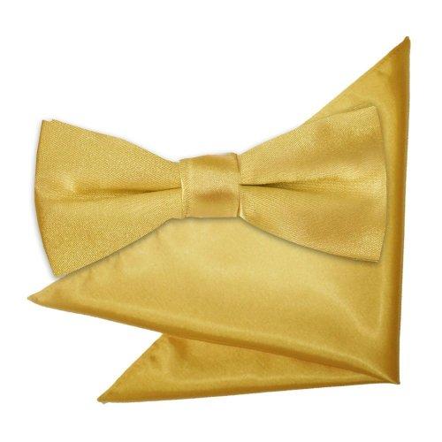 Gold Plain Satin Bow Tie & Pocket Square Set for Boys