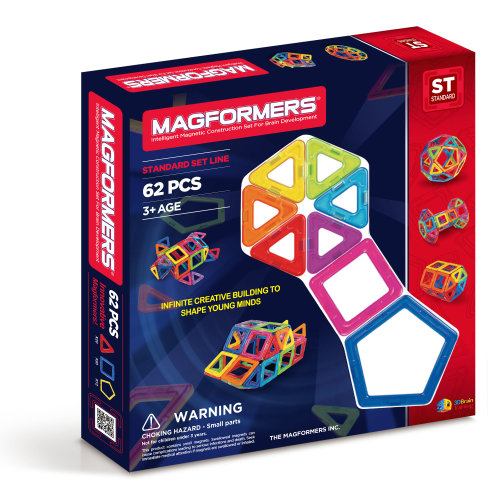 Magformers Magnetic 62 PCS With 30 Squares, 20 Trianges and 12 Pentagons Set Building and Construction Toy Set Rainbow Colour