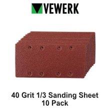 VEWERK 40 Grit Sanding Sheet 1/3 Sander Hook and Loop 10pk 8176