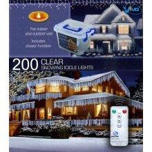 CHRISTMAS XMAS LED LIGHTS SNOWING ICICLE / STRING / TREE / NET - WHITE OR BLUE [200 Led White Icicle Lights]