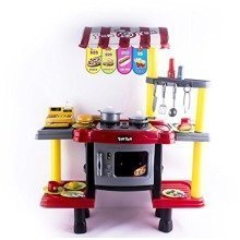 deAO 2 in1 Kids Kitchen & Fast Food Shop Kitchen Play Set for Role Play Game