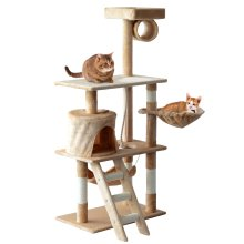 PawHut Beige 5-Tier Cat Tree House | Large Cat Activity Centre