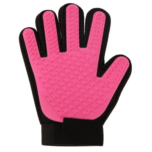 Vinsani [Pink] Pet Grooming Glove Brush Massager, Pet Hair Remover Mitt Deshedding Glove - Perfect for Dogs & Cats with Long & Short Fur