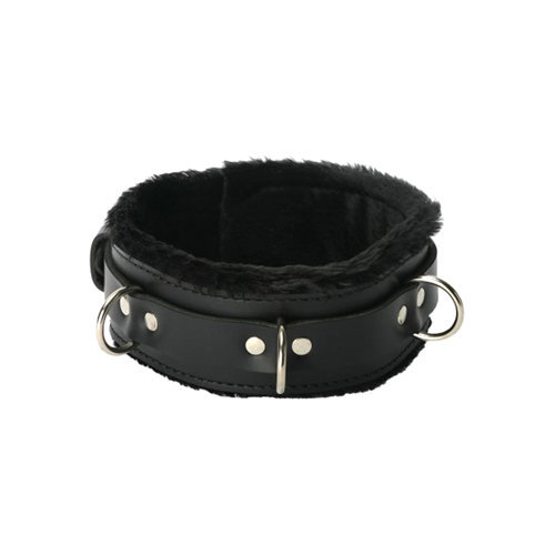 Strict Leather Premium Fur Lined Locking Collar XL BDSM Bondage - Strict Leather