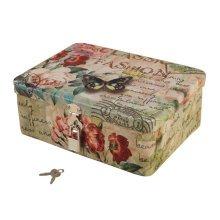 Lovely Style Password Lock Box Storage Box Iron Box Key Box-Butterfly