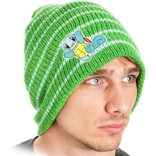 Pokemon Unisex Squirtle Striped Cuffless Beanie One Size - Green