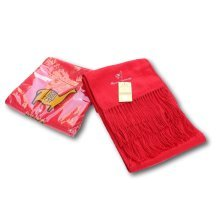 Alpaca Red Embroidered Scarf | Alpaca Wool & Acrylic Blend Scarf