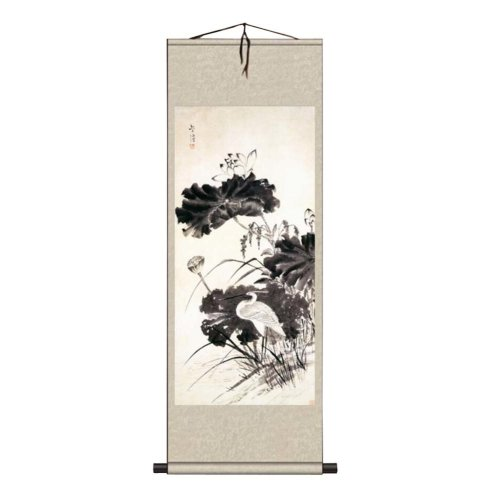 a033d2381 Chinese Scroll Painting Home Decor Silk Scroll Hanging Art Lotus Flower, 17  on OnBuy