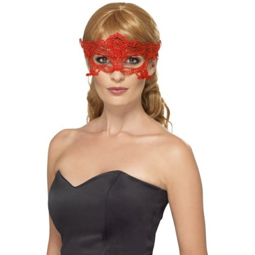Red Embroidered Lace Filigree Heart Eye Mask -  lace embroidered filigree eyemask masquerade fancy dress heart masked ball