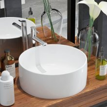 142342 vidaXL Basin Round Ceramic White 40x15 cm