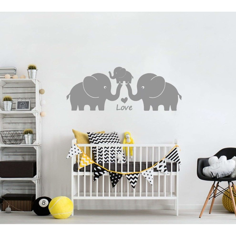 Mafent Cute Elephant Family With Hearts Wall Decals Baby Nursery Decor Kids Room Stickers Small Grey