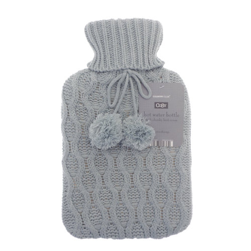 Country Club Cable Knit Hot Water Bottle, Light Grey