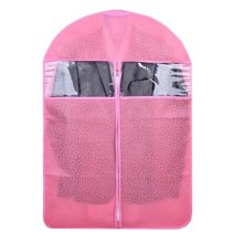Three Storage Garment Shoulder Covers Suit Dust Covers Hanging Coat Pockets M Size 60x108CM (Pink)