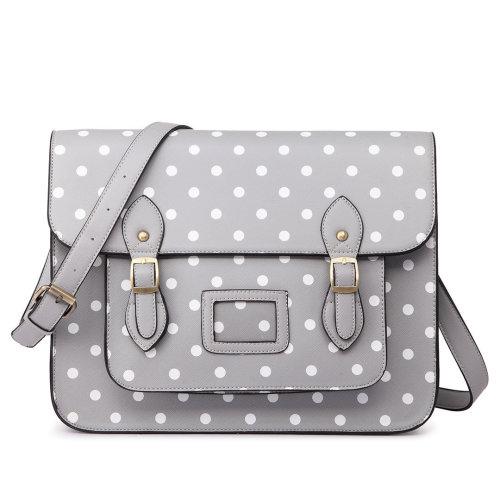 Miss Lulu School Bag Cross Body Messenger Shoulder Satchel PU Leather Polka Dots Grey