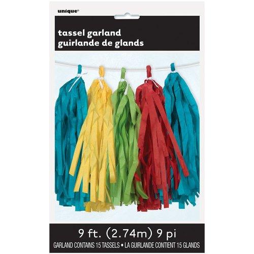 Unique Party  62959  - 9ft Tissue Paper Bold Rainbow Tassel Garland
