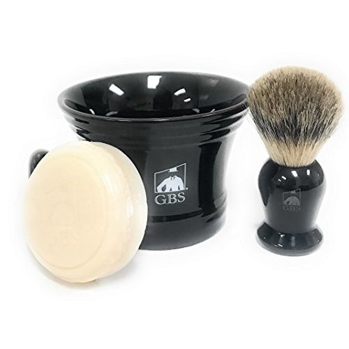 Mens Shaving Set  Black  3 Piece set  Pure Badger Shaving Mug, Brush and 97% All Natural Ocean Driftwood Shave Soap