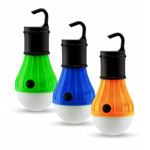 Mini Hanging Lamp Portable LED Camping Lantern Tent Light Bulb. Battery Powered Camping Equipment Gear Gadgets Lamp for Outdoor & Indoor. Battery Powered Emergency Lantern Light (Pack of 3)