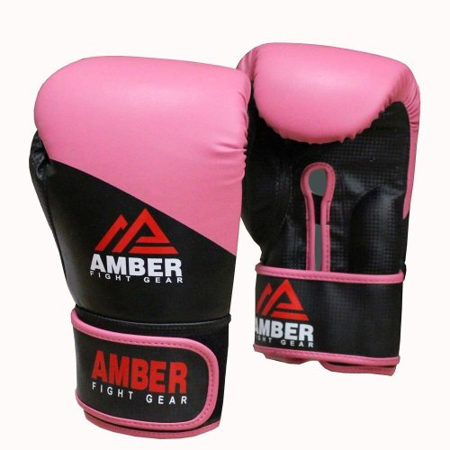 Amber Fight Gear Pro Style Boxing Hook And Loop Training Gloves