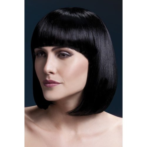 Fever Women's Sleek Black Bob With Bangs, 13inch, One Size, Elise,5020570425626 -  wig fever elise black bob 13inch33cm sleek fringe fancy dress